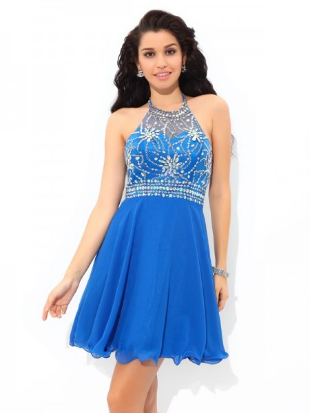 A-Line Halter Beading Short Chiffon Homecoming Dresses
