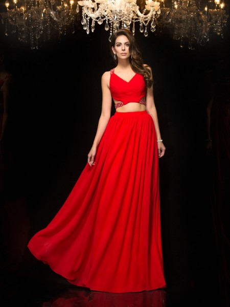A-Line V-neck Beading Chiffon Two Piece Prom Dresses