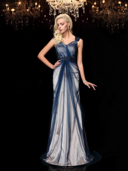 Sheath Straps Applique Elastic Woven Satin Prom Dresses