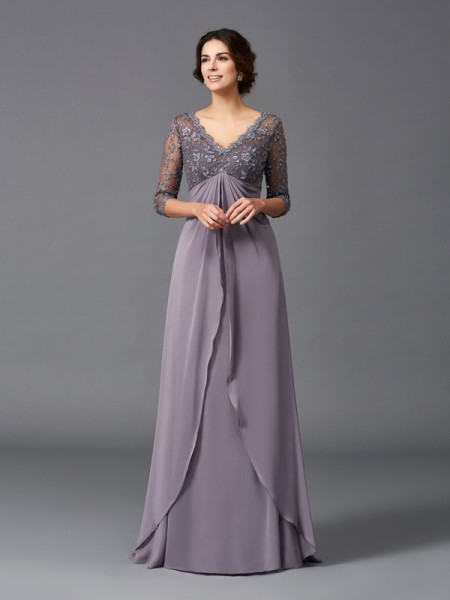 A-Line V-neck Lace Chiffon Mother of the Bride Dresses