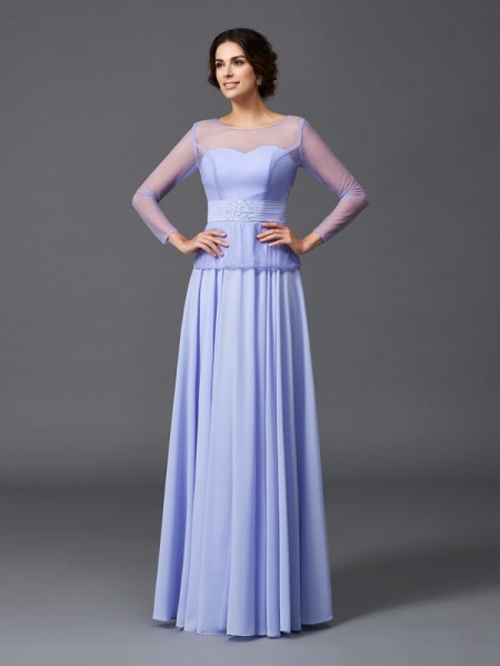 A-Line Scoop Ruffles Chiffon Mother of the Bride Dresses