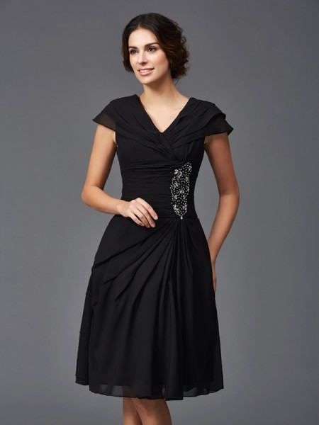 A-Line V-neck Beading Short Chiffon Mother of the Bride Dresses