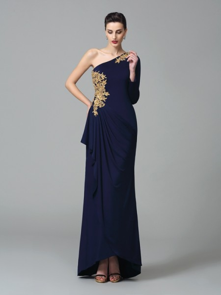 Sheath One-Shoulder Embroidery Spandex Prom Dresses