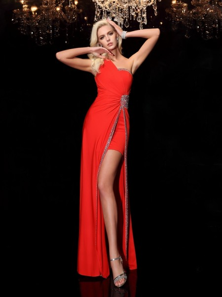 Sheath One-Shoulder Beading Spandex Prom Dresses