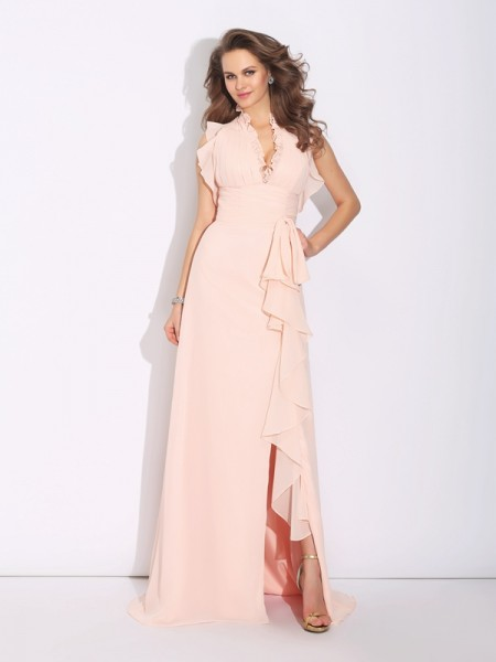 A-Line High Neck Ruffles Chiffon Prom Dresses