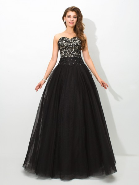Sweetheart Lace Net Ball Gown Quinceanera Prom Dresses