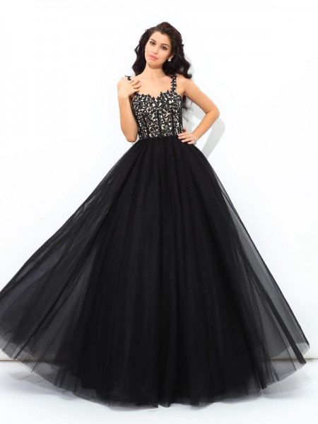 Straps Applique Net Ball Gown Quinceanera Prom Dresses