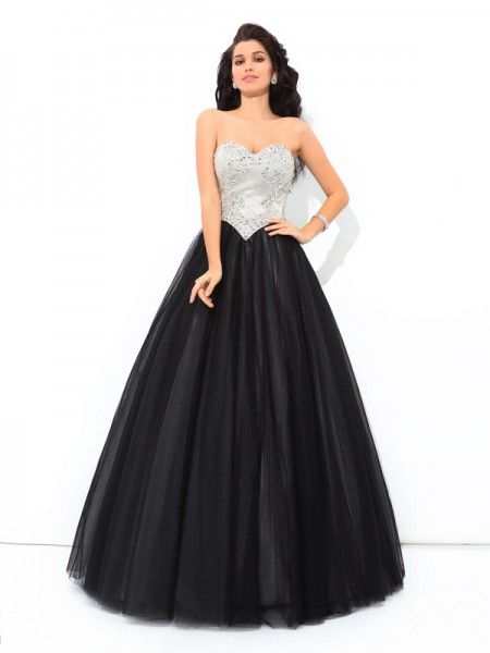 Sweetheart Paillette Net Ball Gown Quinceanera Prom Dresses