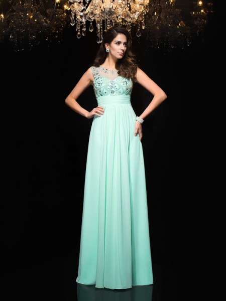 A-Line Sheer Neck Beading Chiffon Prom Dresses