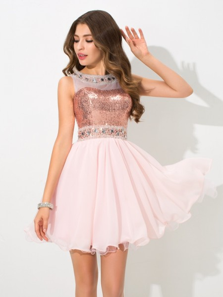 A-Line Sheer Neck Sequin Short Chiffon Homecoming Dresses