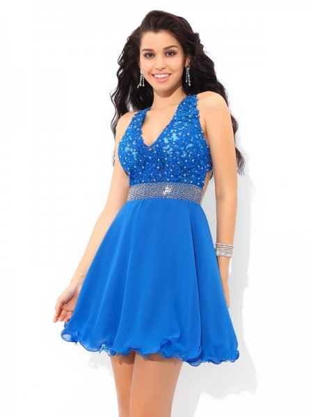 A-Line V-neck Applique Short Chiffon Homecoming Dresses