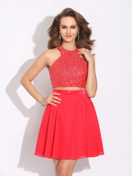 A-Line Jewel Crystal Short Chiffon Two Piece Prom Dresses