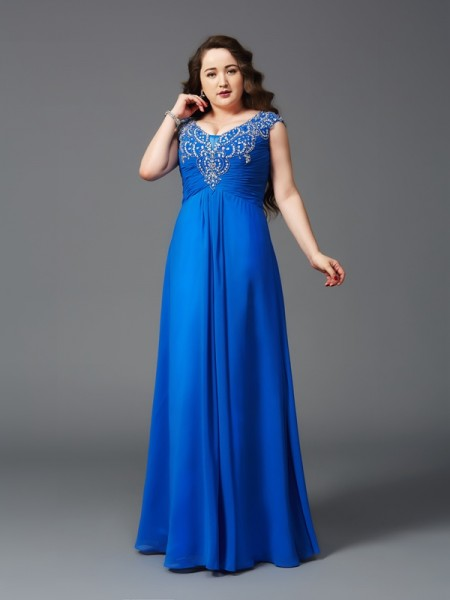 A-Line Straps Beading Chiffon Plus Size Prom Dresses