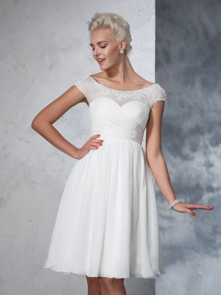 A-Line Sheer Neck Ruched Short Chiffon Wedding Dresses