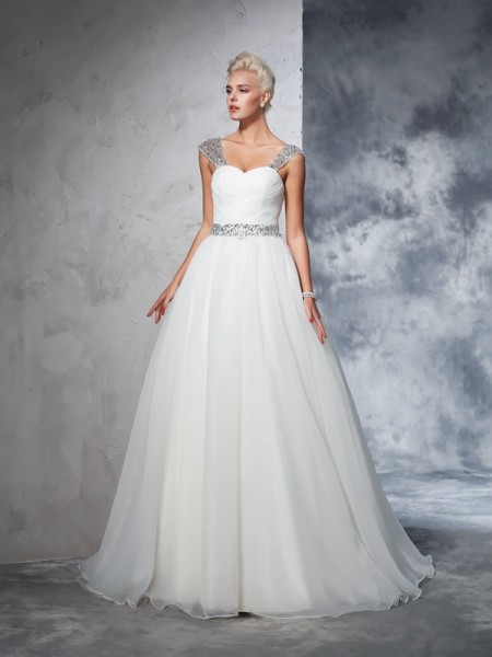 Straps Ruched Net Ball Gown Wedding Dresses