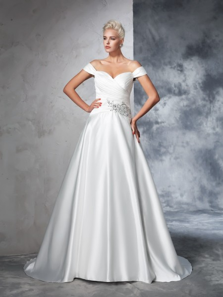 Off-the-Shoulder Ruched Taffeta Ball Gown Wedding Dresses