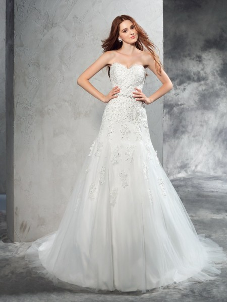 Sheath Sweetheart Applique Satin Wedding Dresses