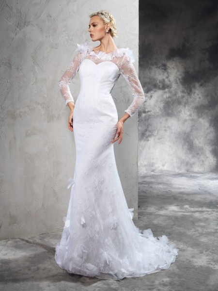 Sheath Sheer Neck Hand-Made Flower Satin Wedding Dresses