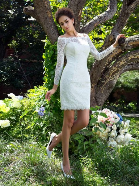Sheath Scoop Short Satin Wedding Dresses