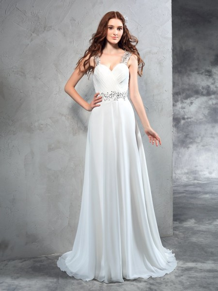 A-Line Sweetheart Pleats Chiffon Wedding Dresses