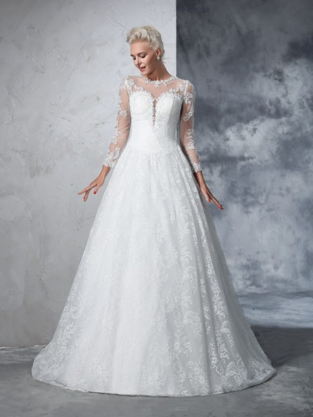 Jewel Lace Lace Ball Gown Wedding Dresses