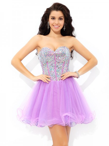 A-Line Sweetheart Paillette Short Net Homecoming Dresses