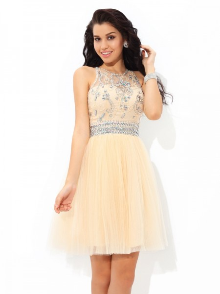A-Line Sheer Neck Beading Short Net Homecoming Dresses
