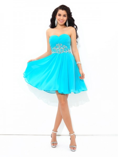A-Line Sweetheart Pleats Short Chiffon Homecoming Dresses
