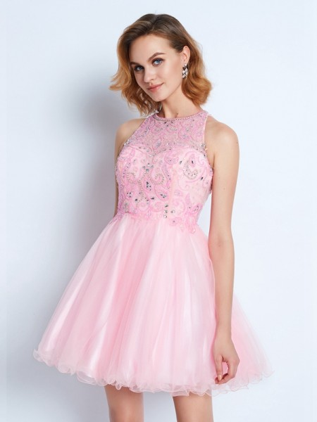 A-Line Jewel Short/Mini Net Ruffles Homecoming Dresses