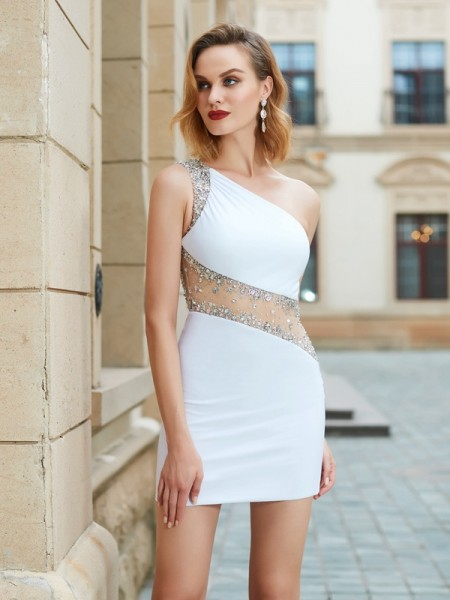Sheath One-Shoulder Beading Short/Mini Net Homecoming Dresses