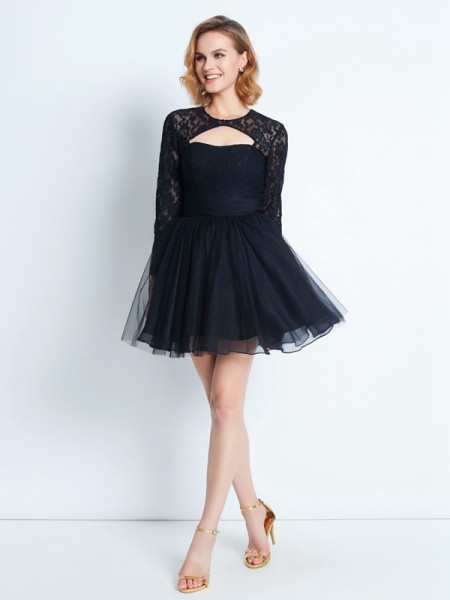 A-Line High Neck Lace Short/Mini Net Homecoming Dresses