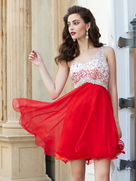 A-Line One-Shoulder Beading Chiffon Short/Mini Homecoming Dresses