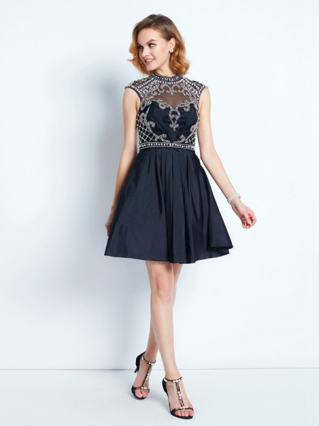 A-Line High Neck Beading Short/Mini Satin Homecoming Dresses
