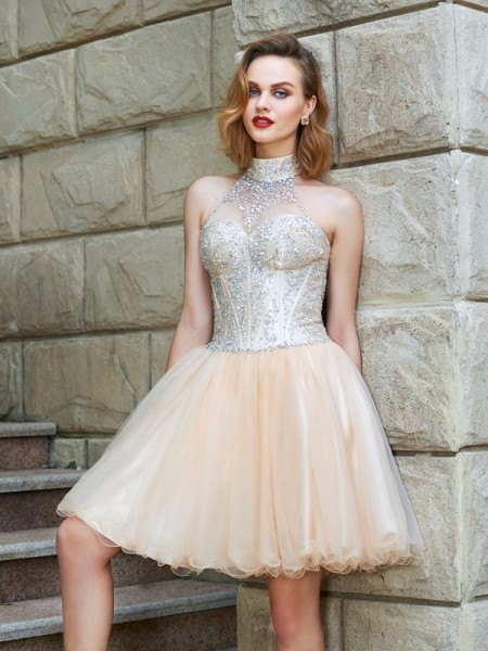 A-Line Halter Beading Net Short/Mini Homecoming Dresses