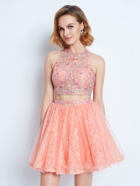 A-Line Jewel Lace Beading Short/Mini Two Piece Homecoming Dresses