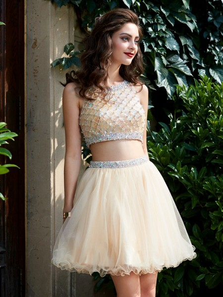 A-Line Scoop Net Beading Short/Mini Two Piece Homecoming Homecoming Dresses