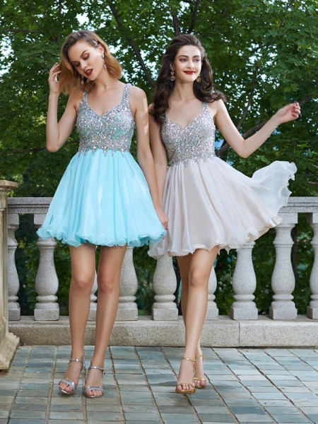 A-Line Rhinestone Straps Short/Mini Chiffon Homecoming Dresses