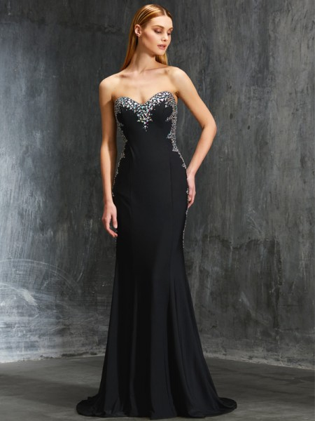Sheath Sweetheart Sequin Spandex Sweep/Brush Train Prom Dresses