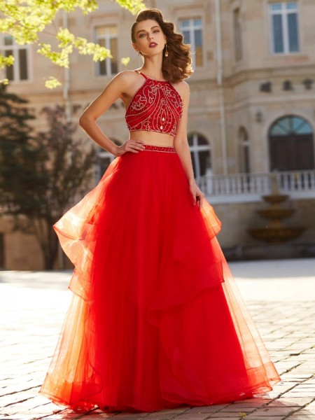 A-Line Spaghetti Straps Floor-Length Beading Tulle Two Piece Prom Dresses