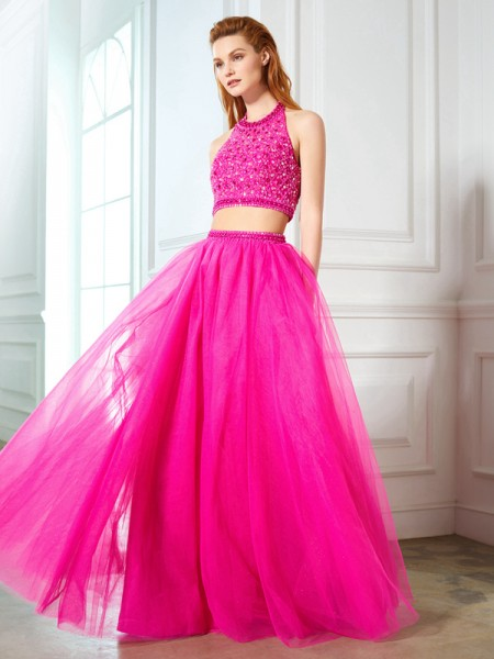 A-Line Halter Beading Net Floor-Length Two Piece Prom Dresses