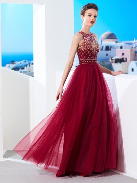 A-Line Scoop Floor-Length Beading Tulle Prom Dresses