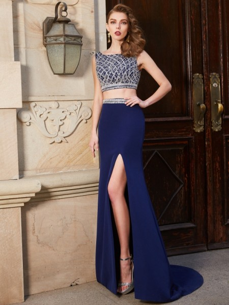 Sheath Bateau Sweep/Brush Train Beading Elastic Woven Satin Two Piece Prom Dresses