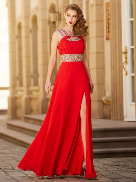 A-Line Scoop Beading Floor-length Chiffon Prom Dresses