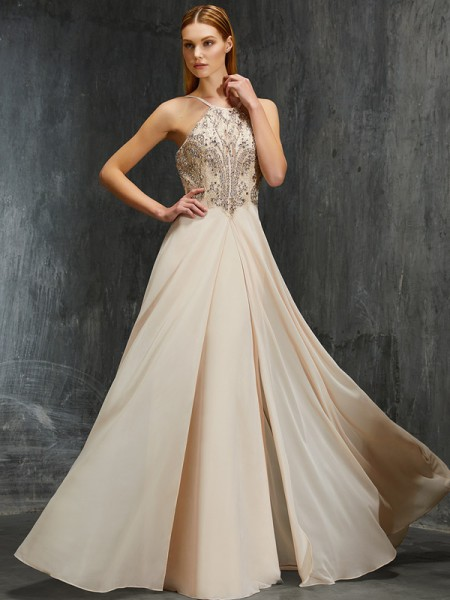 A-Line Spaghetti Straps Beading Sweep/Brush Train Chiffon Prom Dresses