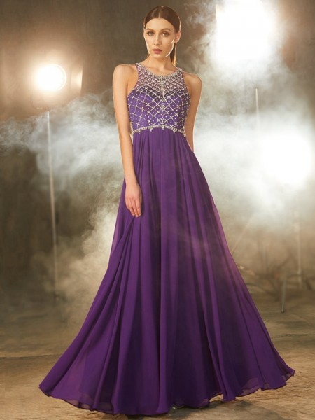 A-Line Chiffon Scoop Crystal Floor-Length Prom Dresses