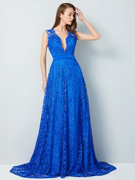 A-Line V-neck Sweep/Brush Train Bowknot Lace Prom Dresses