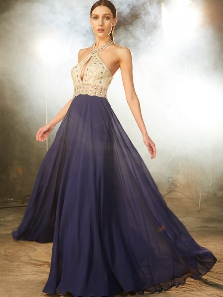 A-Line Straps Beading Chiffon Floor-Length Prom Dresses