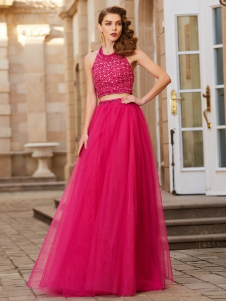 A-Line Halter Beading Tulle Floor-Length Two Piece Prom Dresses