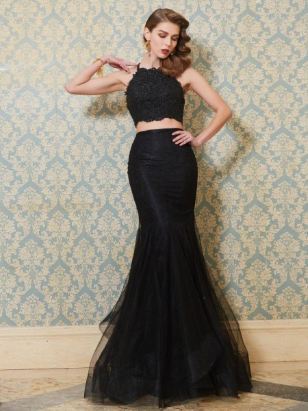 Mermaid Spaghetti Straps Applique Floor-Length Tulle Two Piece Prom Dresses