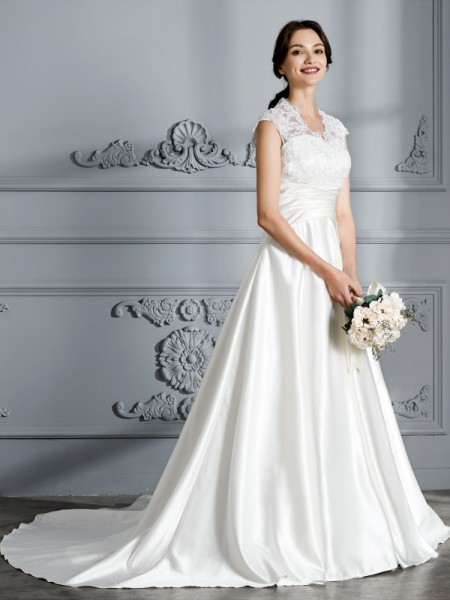 V-neck Court Train Satin Ball Gown Wedding Dresses
